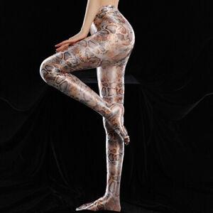 Plus Size Shiny Silky Leopard Pantyhose High Waist Tights Sports Fitness Leggins
