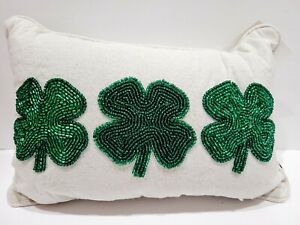 """St Patrick's Day BEADED Shamrock Green Gold Throw Pillow Home Decor 10""""x14"""""""