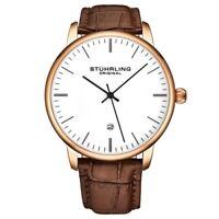 Stuhrling 3997XL 7 Quartz Date Brown Embossed Leather Strap Mens Watch