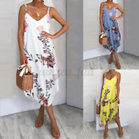 UK Women Holiday Floral Dresses Ladies Strappy Summer Beach Midi Dress Size 8-26