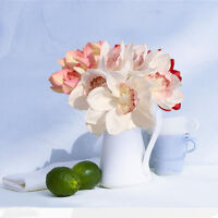 White Real Touch Silk Orchid Artificial Flower Wedding Bridal Bouquet Home Decor
