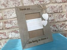 Personalised Wooden Photo Frame Driftwood Friends Family Any Message Engraved