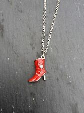 FREE GIFT BAG  Silver Plated Red Xmas Christmas Boot Shoe Cute Necklace Chain
