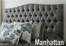 NEW BED HEAD DOUBLE DIAMOND PLEATED BUTTONED UPHOLSTERED BEDHEAD / HEADBOARD I