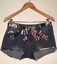 ❤️ Womens Faded Black Distressed Denim Shorts Size Extra Small ❤️