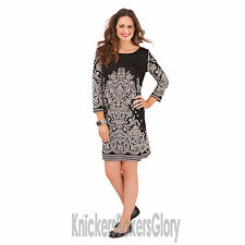 Paisley 3/4 Sleeve Casual Tunic Dresses for Women