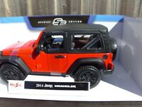 Maisto 1:18 2014 Jeep Wrangler Red Willys American SUV Off Road Diecast Car Toy