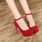 New Ladies Stiletto Strap Women Sexy High Heel Platform Pumps Shoes Buckle Shoes