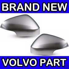 Volvo V70 III (08-11) Matt Chrome Wing Door Mirror Back Cover Casings (Pair)