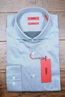 Hugo Boss Men's Jason Slim Fit Easy Iron Cotton Med Gray Dress Shirt 41 16