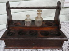 Doctors Chemist Antique Apothecary Test Tube Stand & Drawer Solid Oak w Bottles
