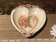 "Hand Painted Floral Design Toleware Heart Shaped Bowl 7 1/4""x5 7/8"" Signed"