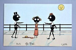 R&L Postcard: c Griffith, Black Humour Ethnic Card, Moon Face, Rival Men