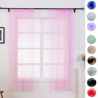 FJ- EG_ LUCY SLOT TOP PLAIN VOILE CURTAIN PANEL  NET VOILE 40''X60'' 10 COLORS B