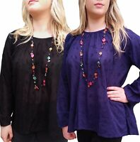 Women's UK PLUS Size 10-22 Blouse Tunic Top, Black OR PURPLE/BLUE