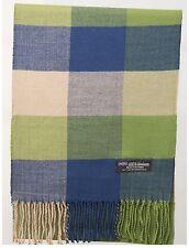 100% Cashmere Scarf Green Blue Beige Check Tartan Plaid SCOTLAND Wool Women R93