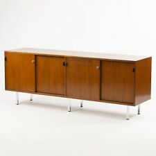 1960's Vintage Florence Knoll Walnut and Leather Credenza Cabinet Sideboard