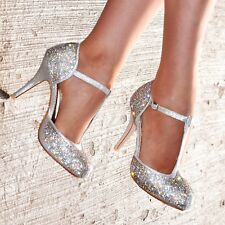 Ladies Diamante High Heel Shoes T-bar Evening Party Closed toe Heels UK size 3-8