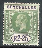 Seychelles1917 yellow-green/violet 2r.25c Die I multi-crown CA mint SG96