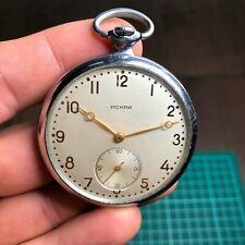 iskra pocket watch ussr rare vintage 17 jewels soviet molnija 1955 men russian