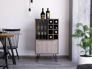 Wine Cabinet Drink Bottle Storage Unit Glass Door 8 Shelves 3 Doors Grey Oak