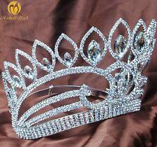 "Miss Pageant Crown 5.5"" Tiara Austrian Rhinestone Bridal Hairband Hair Jewelry"
