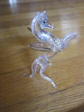 "Glass Pegasus Crystal Small Figurine Vintage 1970's 3.5"" Free Ship Collectible"