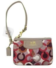 New NWT Coach Madison Signature Sateen & Leather Pink Ivory Tan Wristlet 46668