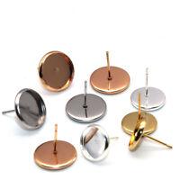 50/20PCS Stainless Steel Blank Earring Cabochon Cameo Bezel Base Tray Ear Studs