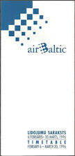 Air Baltic system timetable 2/6/96 [7072] Buy 4+ save 25%