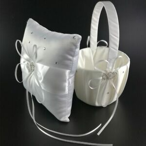 Flower Girl and Anneau Pillow with Ribbon Rhinstones Satin for Wedding Ceremony