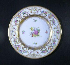 "Antique Ambrosius Lamm Dresden Salad Plate Flowers w/ Raised Gold 8"" 1887-1915"