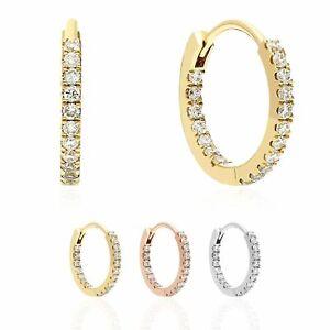 18K Yellow White Rose Gold .50CT Natural Diamond Huggie Hoop Earrings