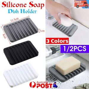 1/2 Silicone Soap Dish Storage Holder Soapbox Plate Tray Drain Box Tool Bathroom