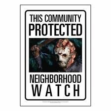 Friday the 13th Jason Voorhees Community Watch Tin Sign 8 x 11.5