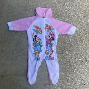 Vtg 80s 90s Mickey /& Friends Rocket Ship Pajamas One Piece Hooded Sleep Suit S