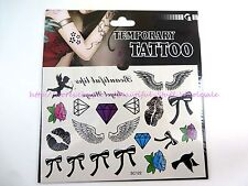 US SELLER-fake tatto diamond bow lip angel wing Temporary Tattoo Sticker