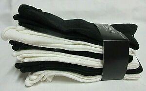 NEW  Women's Ralph Lauren Soft Comfort Roll Top Crew Socks Black& White 6Pairs