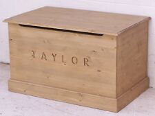SOLID PINE TOY / BLANKET BOX MADE ANY SIZE WITH ANY NAME WAXED FINISH