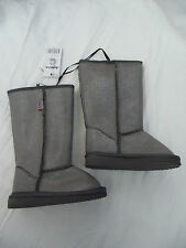 Bnwt Little Girls Sz 8 Rivers Doghouse Long Grey & Silver Sparkle Slipper Boots