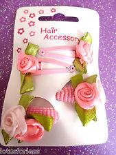 Card of 4 mini Baby Hair Accessories 2 Rose Bendies 2 Pink Mini Ponios Endless
