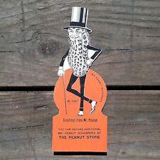 Vintage Original MR. PEANUT PLANTERS PEANUTS Figural Cardboard Bookmark 1940s