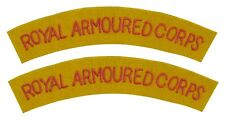 Royal Armoured Corps Shoulder Titles - WW2 Repro Patch Badge Army Flash British
