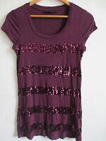 APT.9 womens purple tee M MEDIUM sequine striped scoop neck RAYON long t-shirt