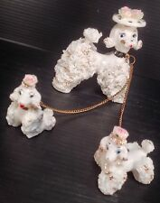 Vintage Leftons Japan Spaghetti Poodle With Hat And Pups Figurines - Very Nice!