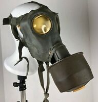 Spanish VTG WWII Army Issued DAGSA Blanco Gas Mask, Gray + Filter - Spain WW2