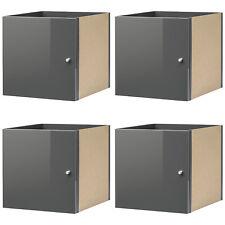 IKEA KALLAX Einsatz mit Tür Hochglanz grau für Expedit Kallax Regal 4-Stück NEU