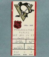 1976-77 Pittsburgh PENGUINS Philadelphia FLYERS NHL Vintage Hockey Ticket Stub 2
