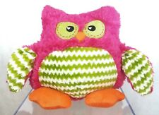 "11.5"" Dandee Owl Cuddle Snuggle Pillow Plush Pink Green Fur Orange Feet Stuffed"