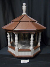 Large Spindle Poly Bird Feeder Amish Handcrafted Handmade Clay Brown Roof